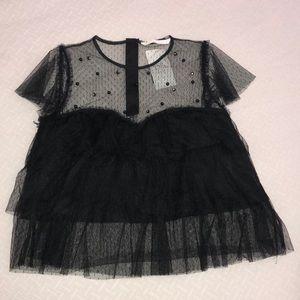 Black Lace  Studded Blouse
